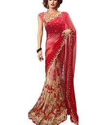 Buy Red embroidered georgette saree with blouse one-minute-saree online