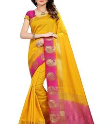 Buy Yellow printed tussar silk saree with blouse tussar-silk-saree online