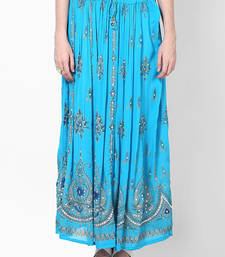 Buy Turquoise Embroidered Cotton Long Skirt cotton-skirt online