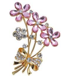 Buy Pink cubic zirconia brooch brooch online