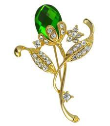 Buy Green cubic zirconia brooch brooch online