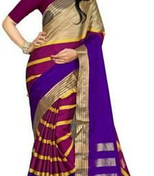 Buy Blue printed cotton silk saree with blouse cotton-silk-saree online