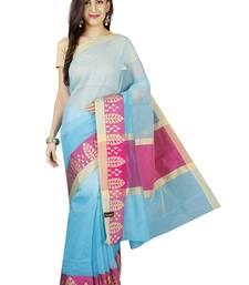 Buy Light blue plain cotton saree with blouse kota-saree online