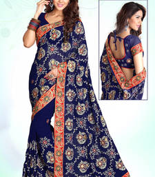 Buy Navy Blue Embroidered Georgette Party Wear Saree With Blouse Piece party-wear-saree online