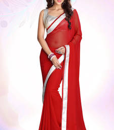 Buy Red Emrboidered Georgette Party Wear Saree With Blouse Piece jacquard-saree online