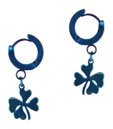 Buy Blue studded jewellery zircon   rhodium hoops hoop online