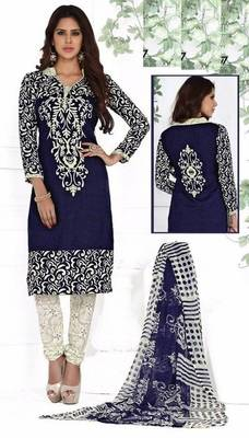 Navy Blue printed crepe unstitched salwar with dupatta