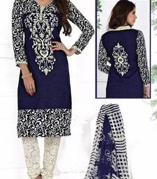 Buy Navy Blue printed crepe unstitched salwar with dupatta hot-deal online