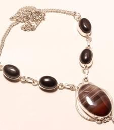"Buy Sardonyx gemstone 925 silver necklace 16-18"" gemstone-necklace online"