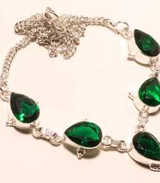 "Buy Chrome diopside gemstone 925 silver necklace 16-18"" gemstone-necklace online"