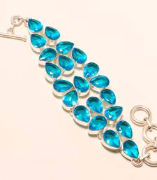 "Buy Blue topaz gemstone 925 silver handmade bracelet 7-8"" gemstone-bracelet online"