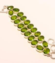 "Buy Faceted green peridot  gemstone 925 silver handmade bracelet 7-8"" gemstone-bracelet online"