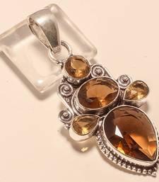 "Buy Smokey topaz gemstone 925 silver jewelry pendant 2.5"" gemstone-pendant online"