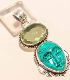 "Buy Carved santa rosa turquoise face gemstone 925 silver jewelry pendant 2.61"" gemstone-pendant online"