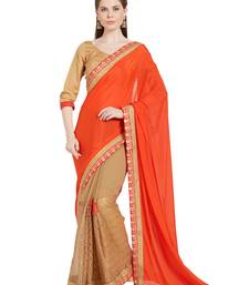 Buy Indian women Orange Half and Half Sari Raw Silk saree with blouse chiffon-saree online