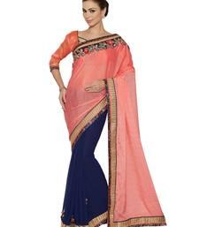 Buy Indian women Violet Half and Half Sari Raw Silk saree with blouse party-wear-saree online