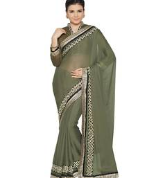 Buy Indian women Grey Plain Sari with Embroidered Border Raw Silk saree with blouse party-wear-saree online