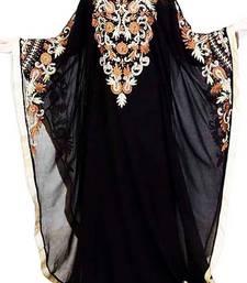 Buy Black Embroidery Work Georgette Hand Stiched Arab Islamic farasha farasha online