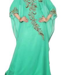 Buy Turquoise Beads and Stone Work Georgette Hand Stiched Arab Islamic farasha farasha online