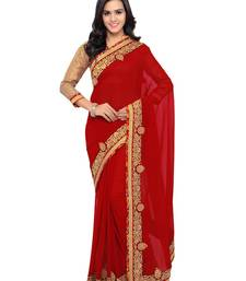 Buy Indian women Red Plain Sari with Embroidered Border Raw Silk saree with blouse georgette-saree online