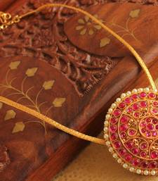 Buy GORGEOUS GOLD PLATED REAL KEMP STONE TEMPLE NECKLACE -DJ14361 Necklace online