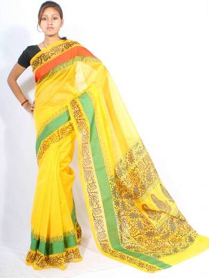 Supernet Satin Border Printed fancy pallu saree
