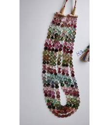 Buy Tourmaline gemstone plain hand polished unusual beads 1 strings necklace gsn81 Necklace online