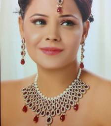 Buy Honeycomb Design Necklace Set with Pearls in Maroon necklace-set online