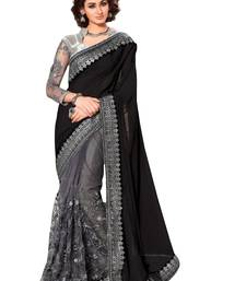 Buy Black embroidered faux lycra saree with blouse party-wear-saree online