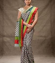 Buy Black and white printed tussar silk saree hand-woven-saree online