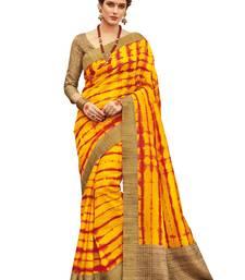 Buy Yellow printed faux kanjivaram silk saree with blouse kanchipuram-silk-saree online