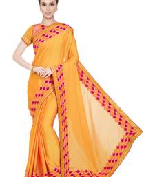 Buy Indian Women yellow color two tone bright georgette Saree heavy-work-saree online