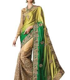 Buy Multicolor embroidered nylon bridal saree  bridal-saree online