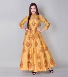 Buy Mustard block print dupion silk stitched gown readymade-suit online