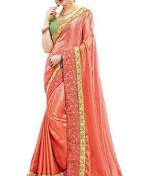 Buy Coral embroidered silk saree with blouse banarasi-saree online