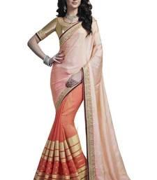 Buy Peach plain viscose saree with blouse viscose-saree online