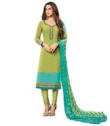 Buy Green embroidered crepe salwar with dupatta crepe-salwar-suit online