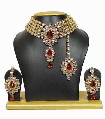 5-Line Kundan Chocker Necklace Set in Red