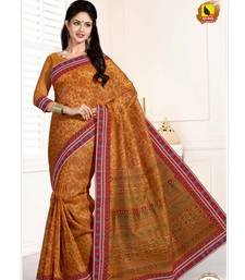 Buy Brown printed cotton ethnic sarees with blouse cotton-saree online