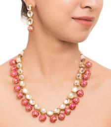 Buy Pritisha pink meenakari  and kundan necklace set necklace-set online