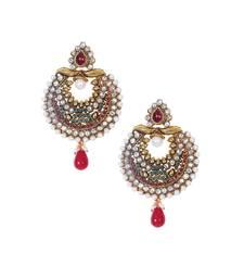 Buy Red green gold polki pearl drop chandbali ethnic earrings te932 danglers-drop online