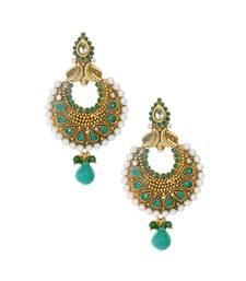 Buy Emerald green gold oxidised pearl drop chandbali style earrings te970 danglers-drop online