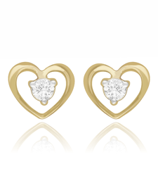 Buy Valentine day 0.11cts Diamond heart shape earrings-18k yellow gold pendant -gift for love Earring online