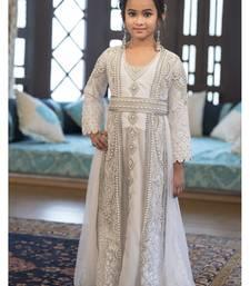 Buy Designer Handmade White Arabic Moroccan Long Sleeve Caftan For Kids kids-kaftan online