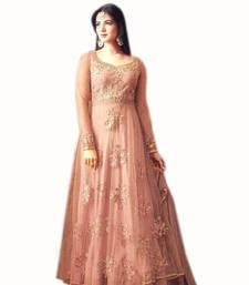 Buy orange embroidred net semi stitched salwar with dupatta semi-stitched-salwar-suit online