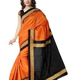 Buy orange plain bhagalpuri cotton saree with blouse bhagalpuri-silk-saree online