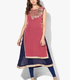 Buy Zoeyams womens pink & blue georgette gota embroidery double layer long anarkali kurti long-kurtis online