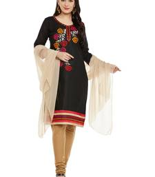 Buy AgrohA black pure cotton dress material with dupatta dress-material online
