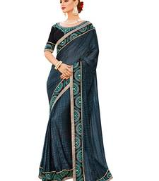 Buy Navy blue embroidered brasso saree with blouse brasso-saree online