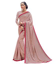 Buy Peach embroidered brasso saree with blouse brasso-saree online